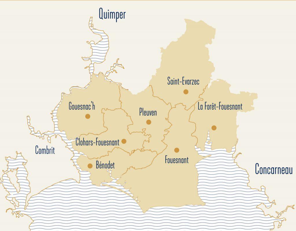 Carte de situation du pays fouesnantais